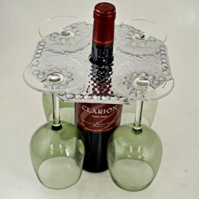 3508 - WINE GLASS HOLDER W/HAMMERED DESIGN