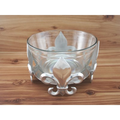 52185 - Fleurs De Lis Glass Holder with Glass Bowl