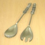 52248-HAMMERED DESIGN  SERVING SET W/ BLACK GLASS BEADS
