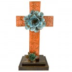 ORANGE STANDING CROSS DAMASK DESIGN / TURQUISE FLOWER (METAL) - BOTTOM FLOWER AVAILABLE IN DIFFERENT COLORS