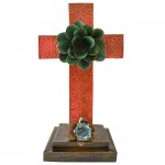 RED STANDING CROSS DAMASK DESIGN W/ ORANGE FLOWER (METAL) - BOTTOM FLOWER AVAILABLE IN DIFFERENT COLORS