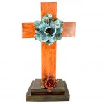 ORANGE STANDING CROSS W/TURQUOISE FLOWER (METAL) - BOTTOM FLOWER AVAILABLE IN DIFFERENT COLORS