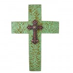 1259 - DAMASK MINT METAL CROSS W/ PINK CRYSTAL STAR