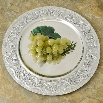 3553 - ROUND DAMASK DESIGN TRAY - 14""