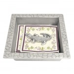 52371 - SQUARE CROCODILE DESIGN NAPKIN HOLDER W/ CROCODILE WEIGHT
