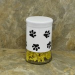 30164 - 33 Oz. WHITE GLASS JAR / W BLACK PAW PRINT
