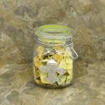 30224GREEN-FDL 30 Oz. SQUARE GLASS JAR W / GREEN CLIP LID & FDL
