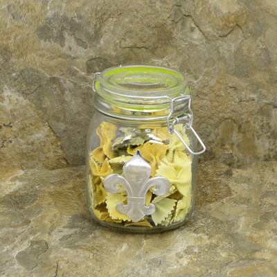 30224GREEN-FDL 30 Oz. SQUARE GLASS JAR W / GREEN CLIP LID & FDL
