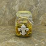 30224YLW-FDL 30 Oz. SQUARE GLASS JAR W / YELLOW CLIP LID & FDL