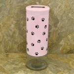 31552 - 64 Oz. PINK GLASS JAR / W BLACK PAW PRINT