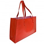 181313- RED LEATHER SHOPPING BAG