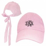32636 - PINK  COTTON SEER SUCKER CAP W/ BOW ON BACK