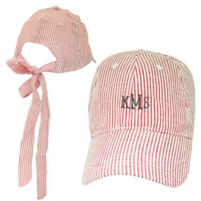 32638 - RED  COTTON SEER SUCKER CAP W/ BOW ON BACK