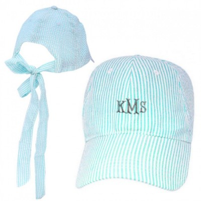 32642 -AQUA COTTON SEER SUCKER CAP W/ BOW ON BACK
