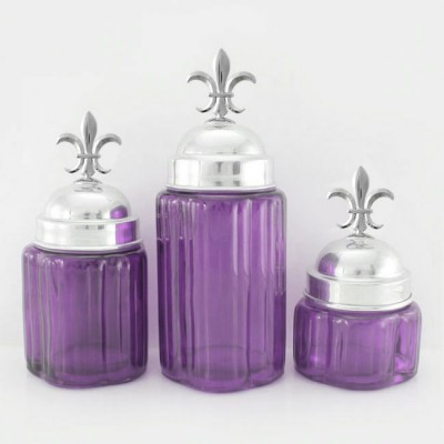 50002PURPLE - Small Round Purple Canister Set