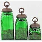 40074GREEN - SQUARE MEDIUM GREEN CANISTER SET / W COPPER RING LIDS