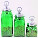 40074GREEN - SQUARE MEDIUM GREEN CANISTER SET / W SILVER RING LIDS