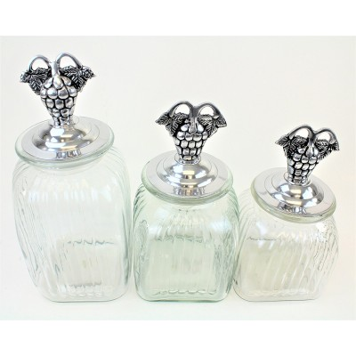 60004 CLEAR 3PC. CANISTER SET WITH LIDS