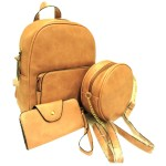 142-MUSTARD PU LEATHER MEDIUM BACKPACK WITH A CROSSBODY AND MATCHING WALLET