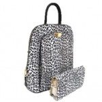 17193LT2-BLACK PU LEOPARD LEATHER MEDIUM BACKPACK WITH MATCHING WALLET