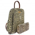 17193LT2-BROWN PU LEOPARD LEATHER MEDIUM BACKPACK WITH MATCHING WALLET