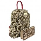 17193LT2-RED PU LEOPARD LEATHER MEDIUM BACKPACK WITH MATCHING WALLET