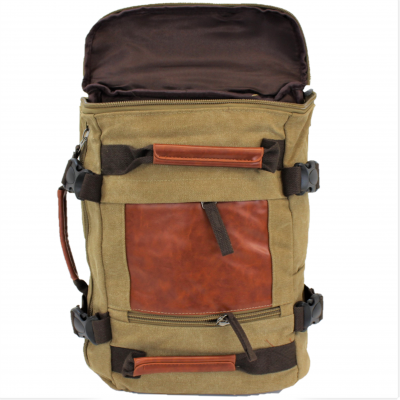 A35 - TAUPE CANVAS BACKPACK OR DUFFEL BAG