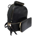 315P-BLACK PU LEATHER SMALL BACKPACK WITH A CROSSBODY AND MATCHING WALLET