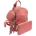 315P-BLUSH PINK PU LEATHER SMALL BACKPACK WITH A CROSSBODY AND MATCHING WALLET