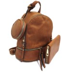 315P-BROWN PU LEATHER SMALL BACKPACK WITH A CROSSBODY AND MATCHING WALLET