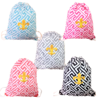 32629-5 COLORS -5 PIECE GREEK KEY DESIGN W/GOLD FDL DRAWSTRING BACK PACK BAG (MINIMUM 2)