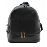 3603-BLACK PU LEATHER MEDIUM BACKPACK