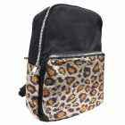 L200-BLACK PU LEOPARD LEATHER SMALL BACKPACK