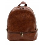 3603-CAMEL PU LEATHER MEDIUM BACKPACK