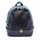 3603-NAVY PU LEATHER MEDIUM BACKPACK