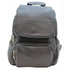 3508-GRAY PU LEATHER MEDIUM BACKPACK