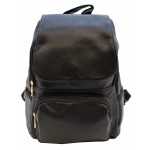 3508-BLACK PU LEATHER MEDIUM BACKPACK