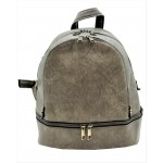 3687-GRAY PU LEATHER SMALL BACKPACK