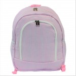 6053 - LIGHT PINK SEER SUCKER LARGE BACKPACK