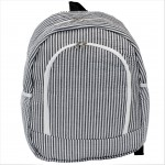 6053 - GREY SEER SUCKER LARGE BACKPACK