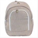 6053 - BEIGE SEER SUCKER LARGE BACKPACK