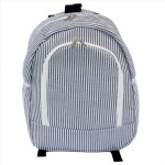 6053 - NAVY BLUE SEER SUCKER LARGE BACKPACK
