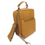 L1443-MUSTARD PU LEATHER MEDIUM BACKPACK WITH COIN BAG