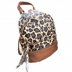 L201-BROWN PU LEOPARD LEATHER SMALL BACKPACK WITH WALLET AND COIN BAG