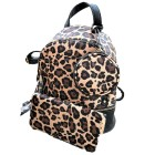L201-BLACK PU LEOPARD LEATHER SMALL BACKPACK WITH WALLET AND COIN BAG