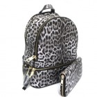 LE1062W-BLACK LEOPARD PU LEATHER MEDIUM BACKPACK WITH MATCHING WALLET