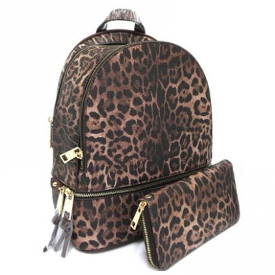 LE1062W-BROWN LEOPARD PU LEATHER MEDIUM BACKPACK WITH MATCHING WALLET