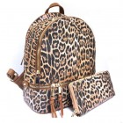 LE1062W-TAN LEOPARD PU LEATHER MEDIUM BACKPACK WITH MATCHING WALLET
