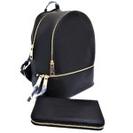 LP1062-BLACK PU LEATHER MEDIUM BACKPACK WITH MATCHING WALLET