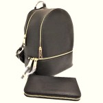 LP1062-CHARCOAL  PU LEATHER MEDIUM BACKPACK WITH MATCHING WALLET